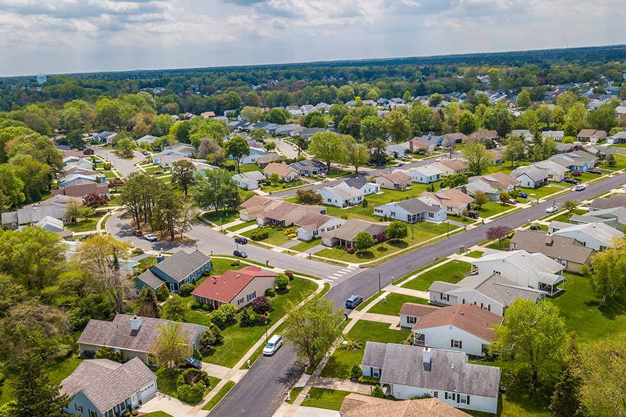 Fuquay Varina NC - Aerial View Of Small Town Neighborhood In Fuquay Varina North Carolina